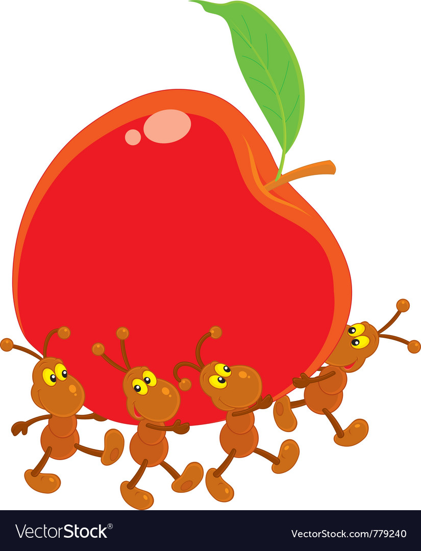Ants carrying a red apple vector | Price: 3 Credit (USD $3)