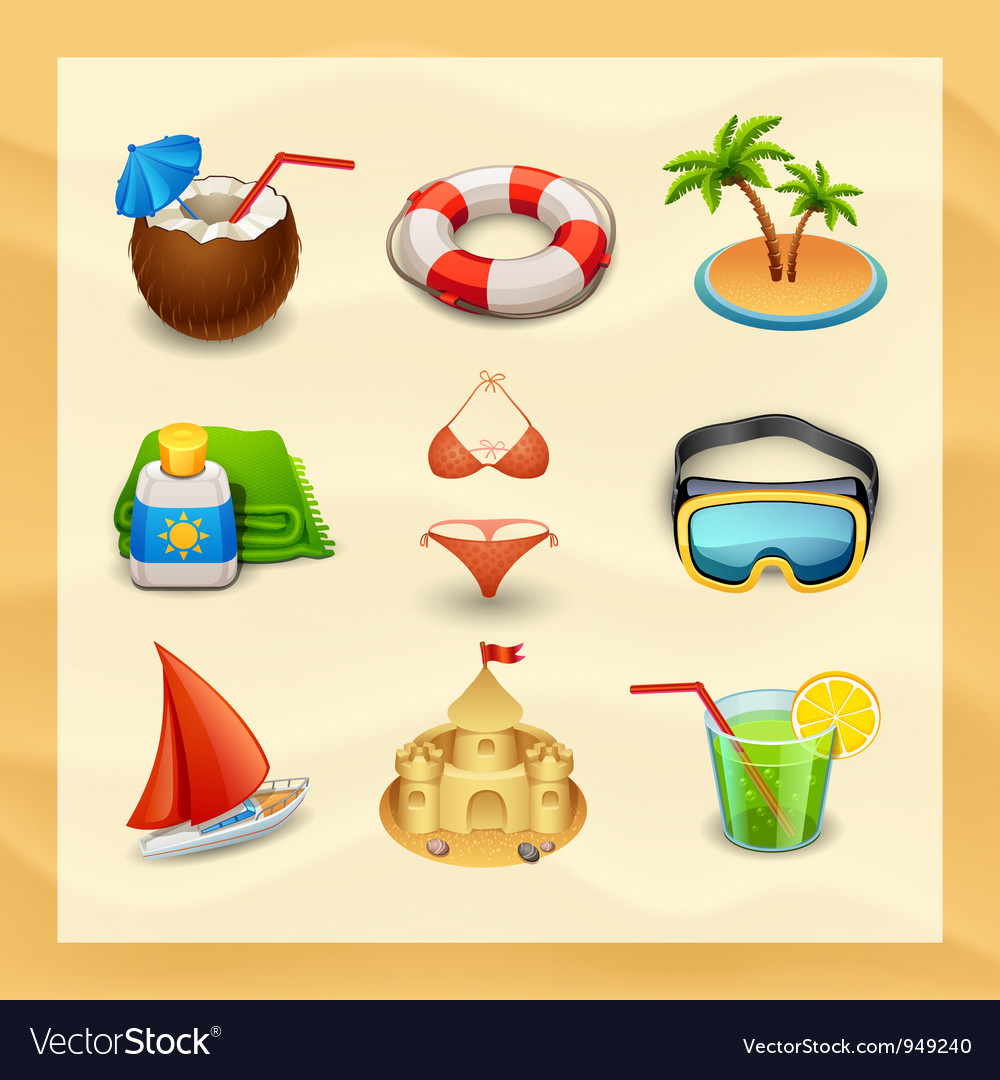 Beach icon set-2 vector | Price: 3 Credit (USD $3)