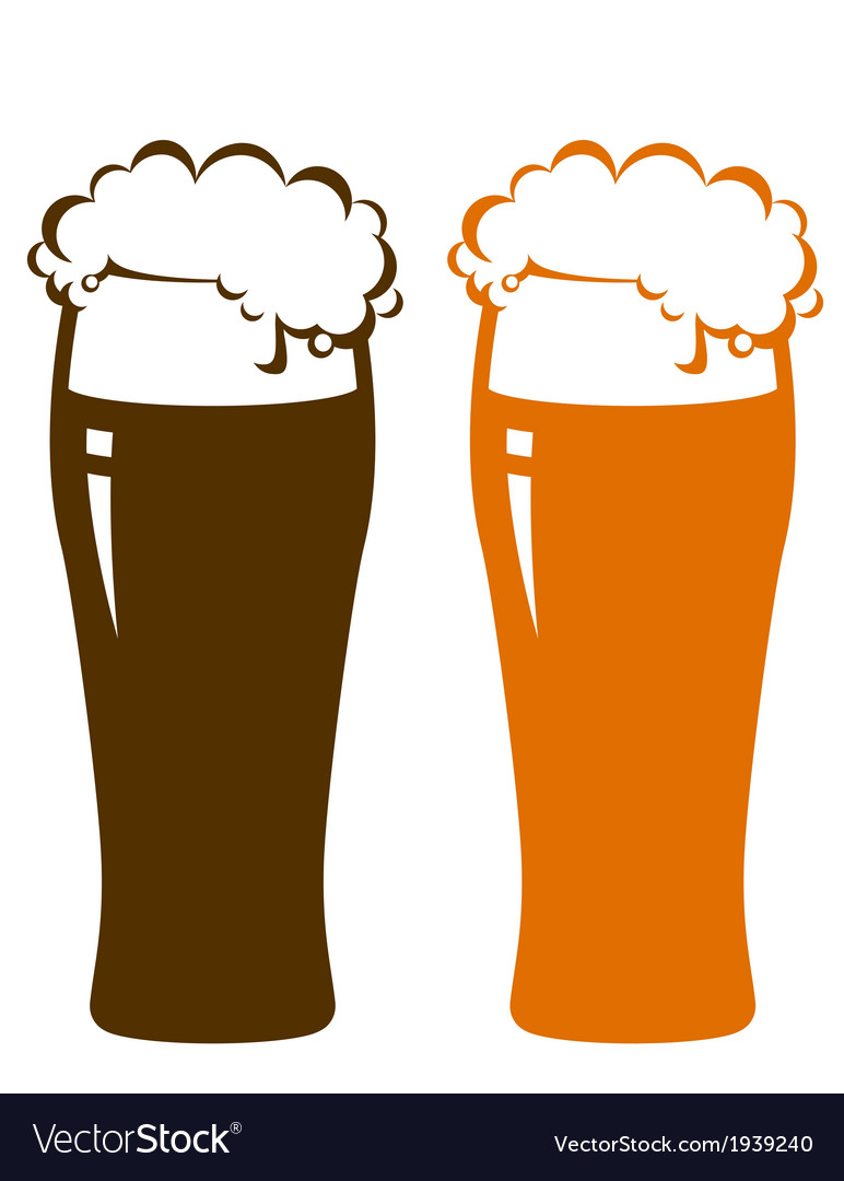 Beer glasses with foam vector   Price: 1 Credit (USD $1)