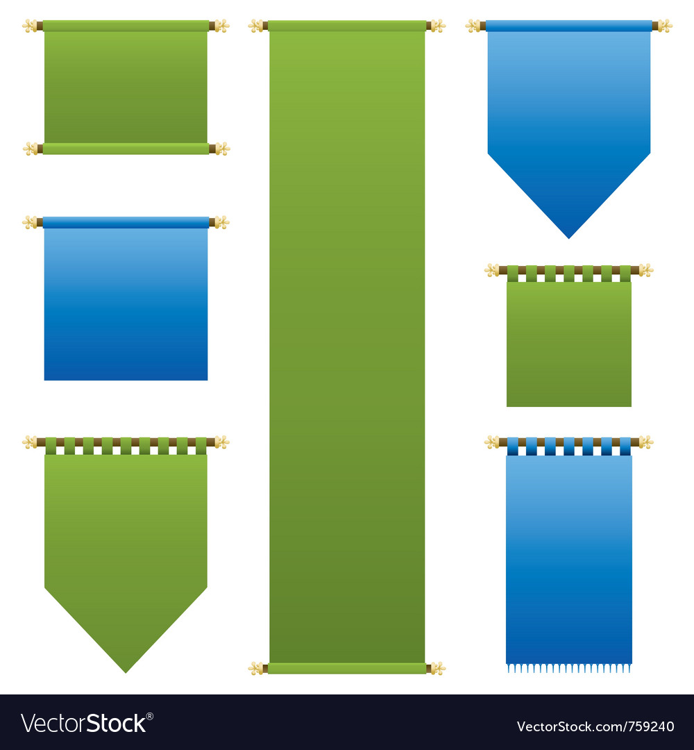 Blue and green banners vector | Price: 1 Credit (USD $1)