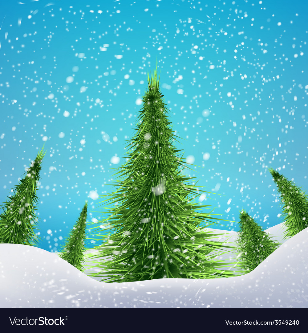 Christmas forest with snowfall and drifts concept vector   Price: 1 Credit (USD $1)