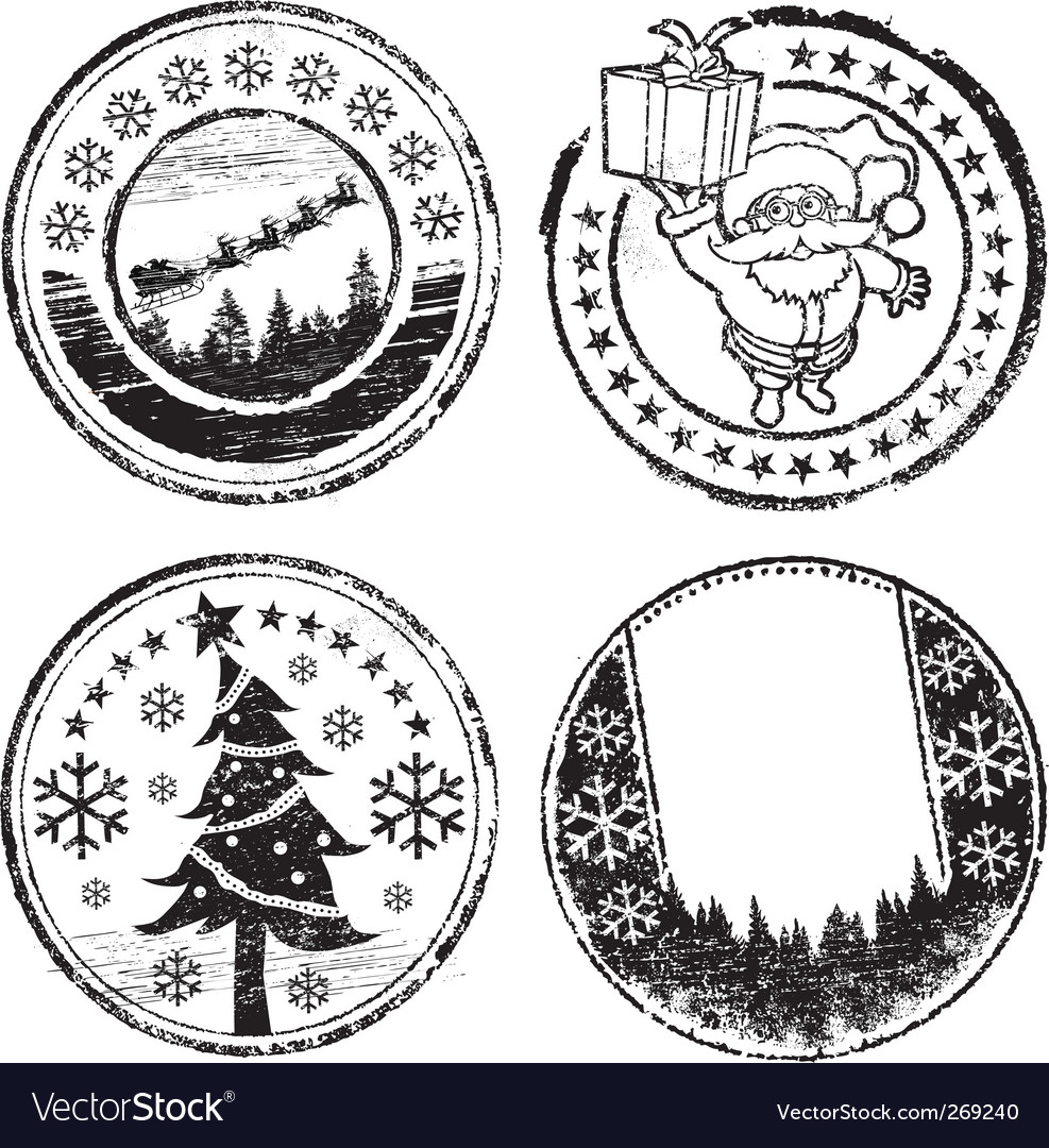 Christmas stamp set vector | Price: 1 Credit (USD $1)