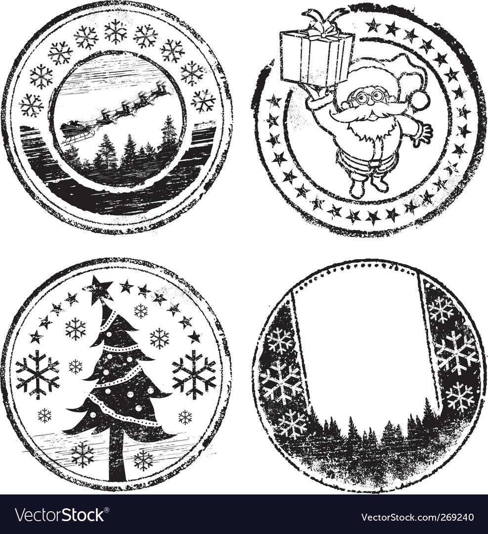Christmas stamp set vector | Price: 1 Credit (USD $1)