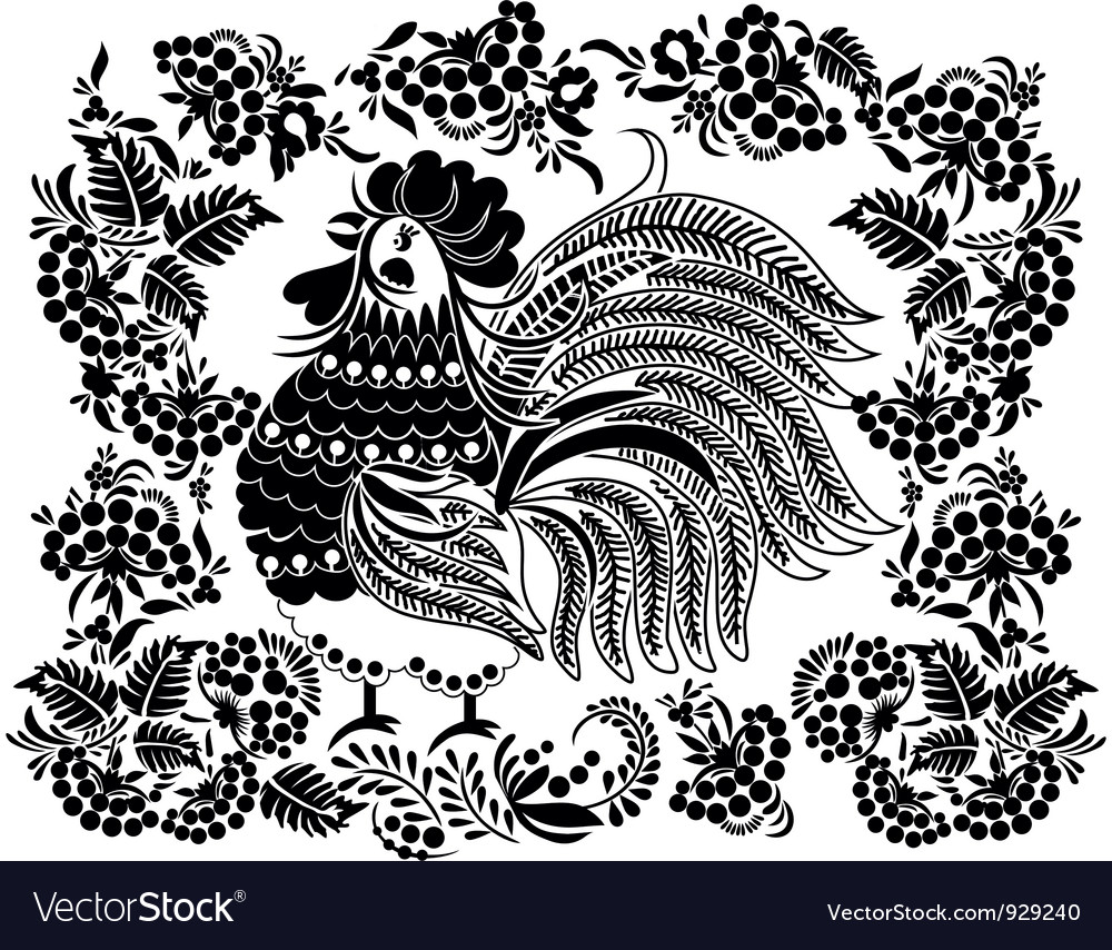 Cock in the flowers vector | Price: 1 Credit (USD $1)