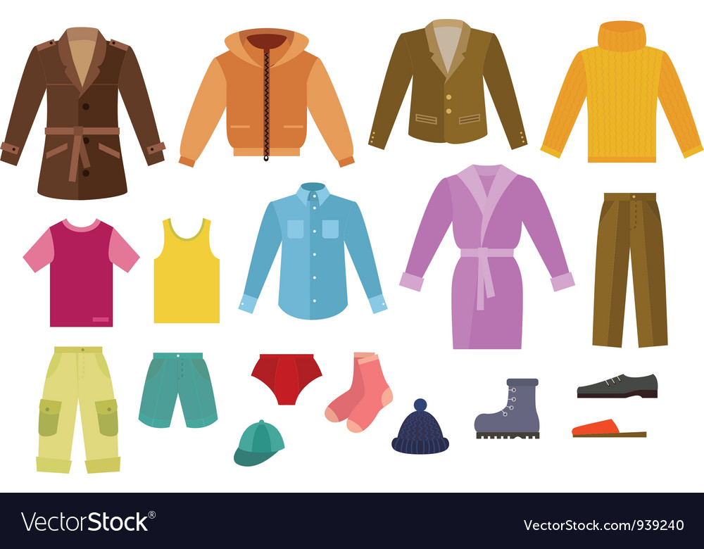 Color mens clothing collection vector | Price: 1 Credit (USD $1)