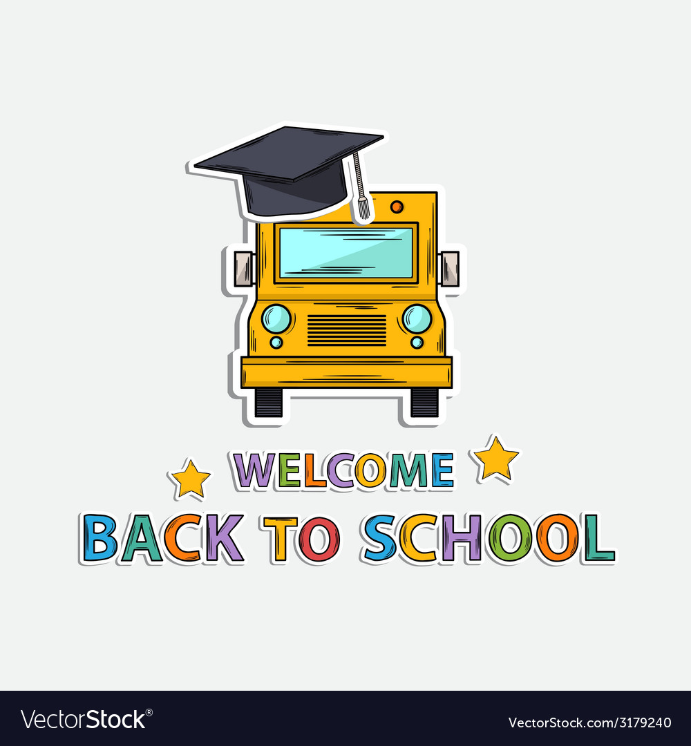 Concept icon back to schoolschool bus hat text vector | Price: 1 Credit (USD $1)