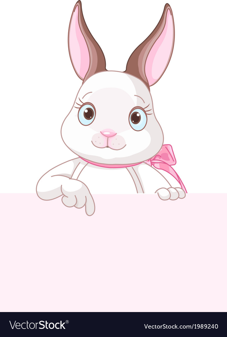 Easter bunny pointing down vector | Price: 1 Credit (USD $1)