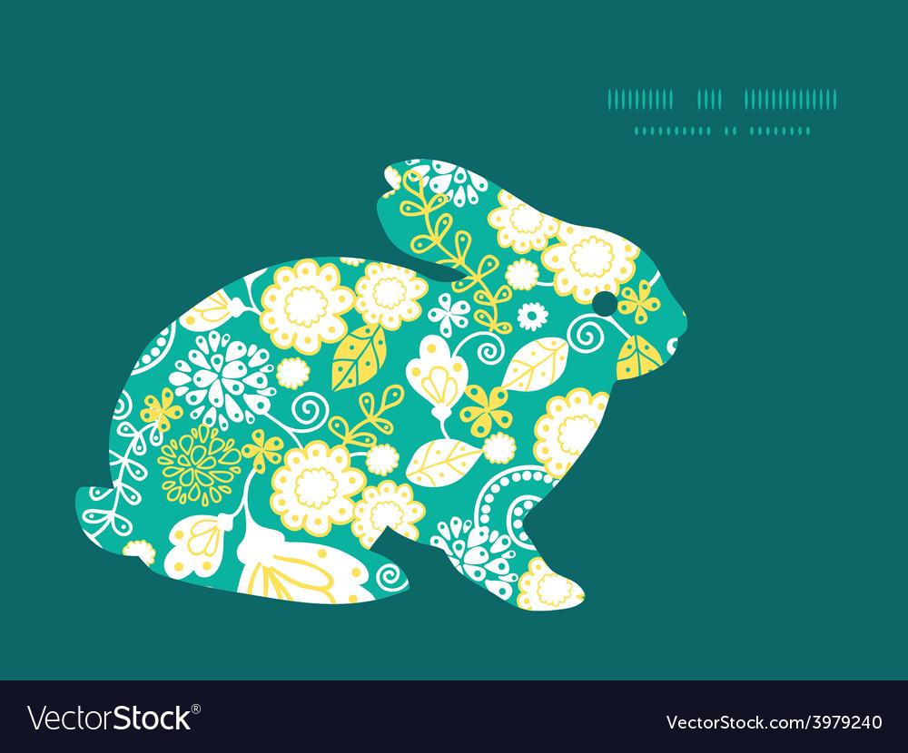 Emerald flowerals bunny rabbit silhouette vector | Price: 1 Credit (USD $1)