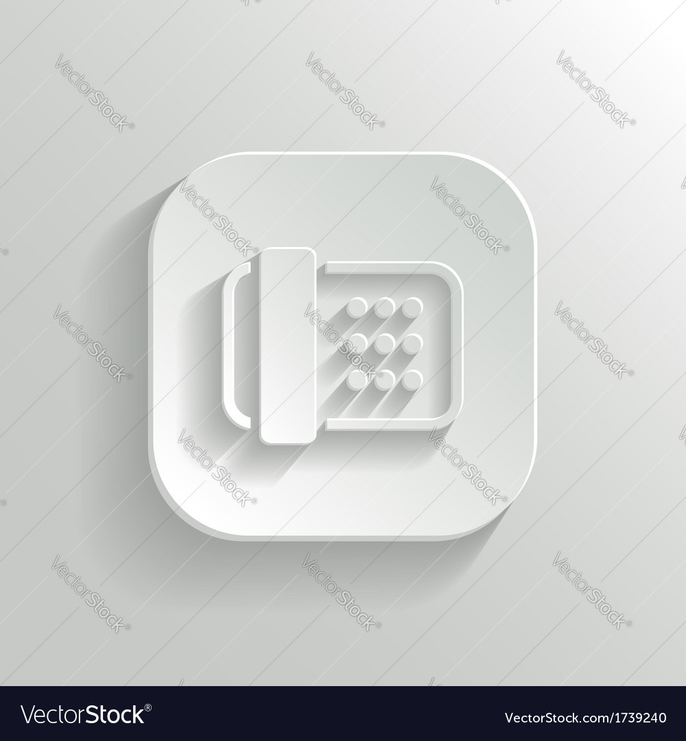 Fax machine icon - white app button vector | Price: 1 Credit (USD $1)