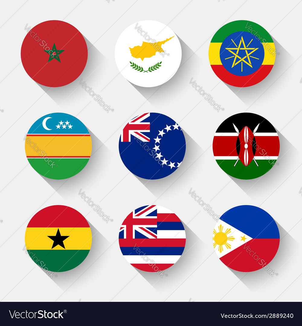 Flags of the world round buttons vector   Price: 1 Credit (USD $1)