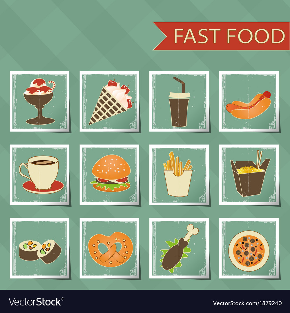 Flat design retro style fast food icons set on vector | Price: 1 Credit (USD $1)