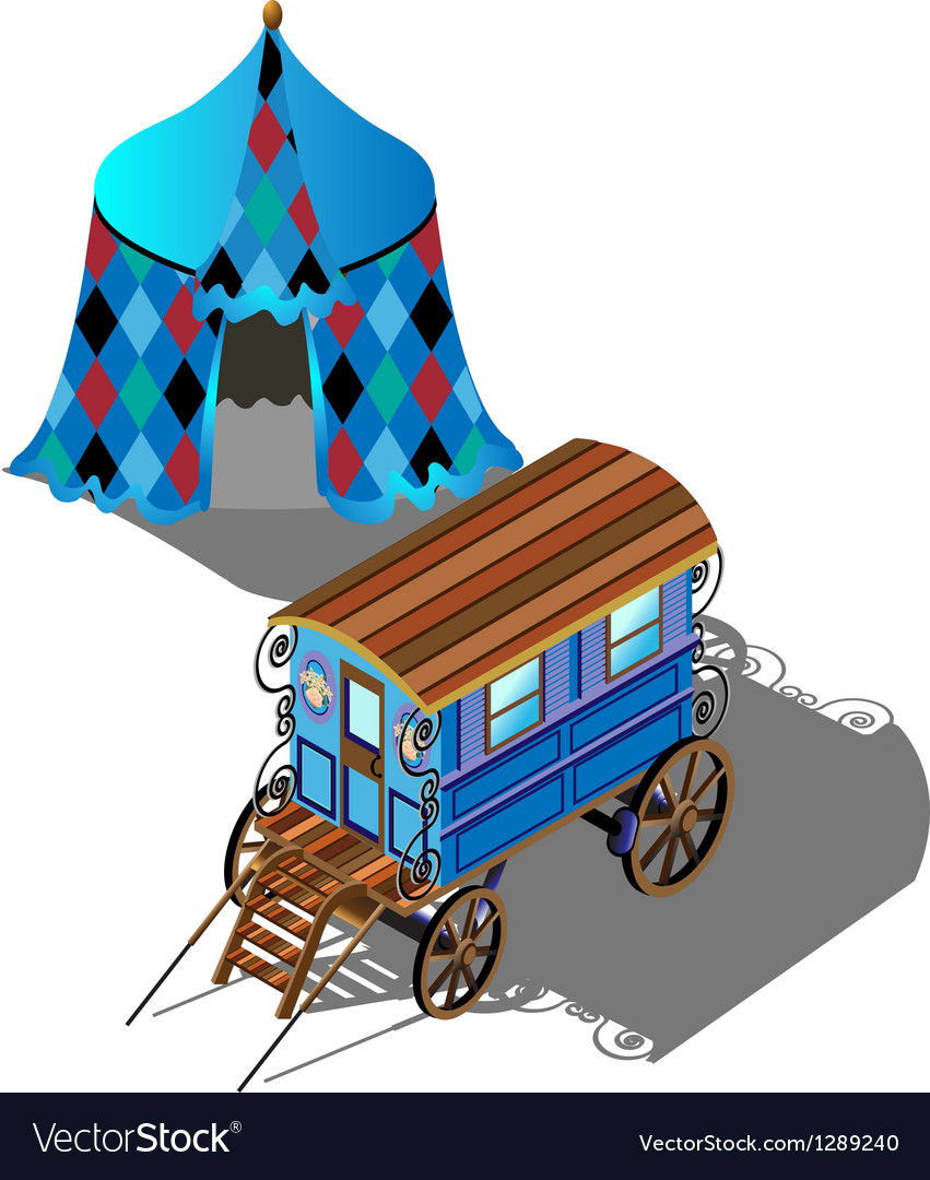 Isometric gypsy wagon and tent vector | Price: 1 Credit (USD $1)