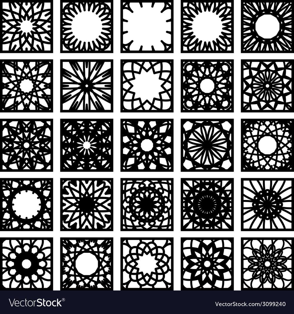 Square ornament set vector