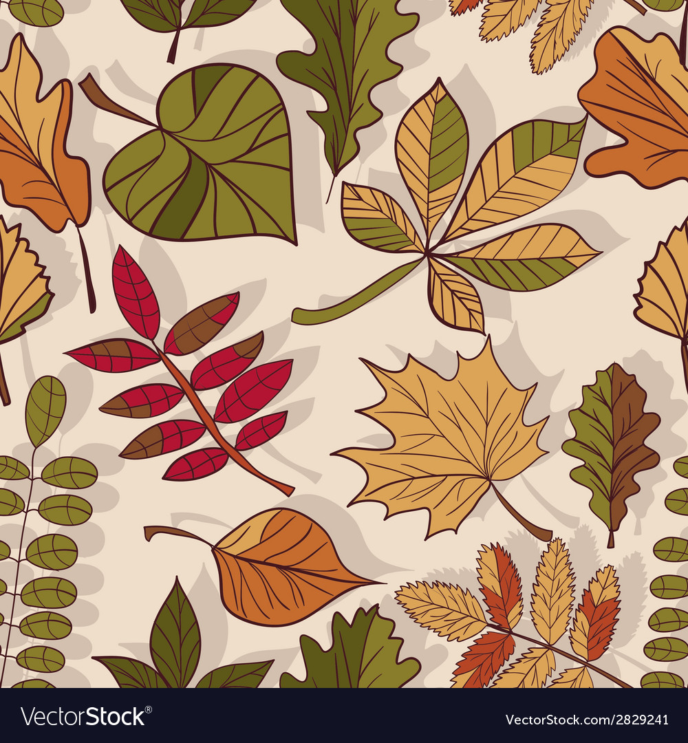 Autumn pattern pattern of autumn leaves red yellow vector | Price: 1 Credit (USD $1)
