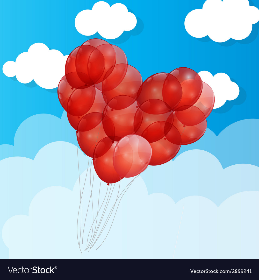 Balloon heart background vector | Price: 1 Credit (USD $1)