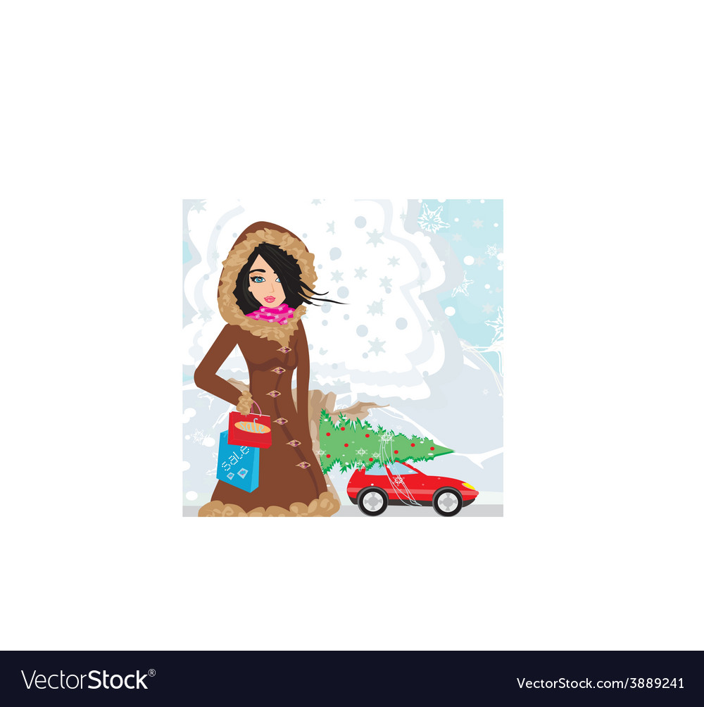 Beautiful woman doing the shopping in winter vector | Price: 1 Credit (USD $1)