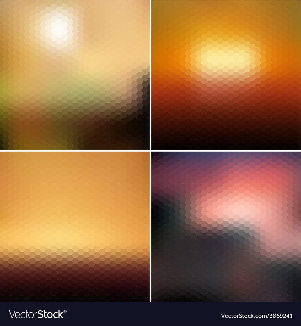 Blurred hexagonal backgrounds set with sea vector | Price: 1 Credit (USD $1)