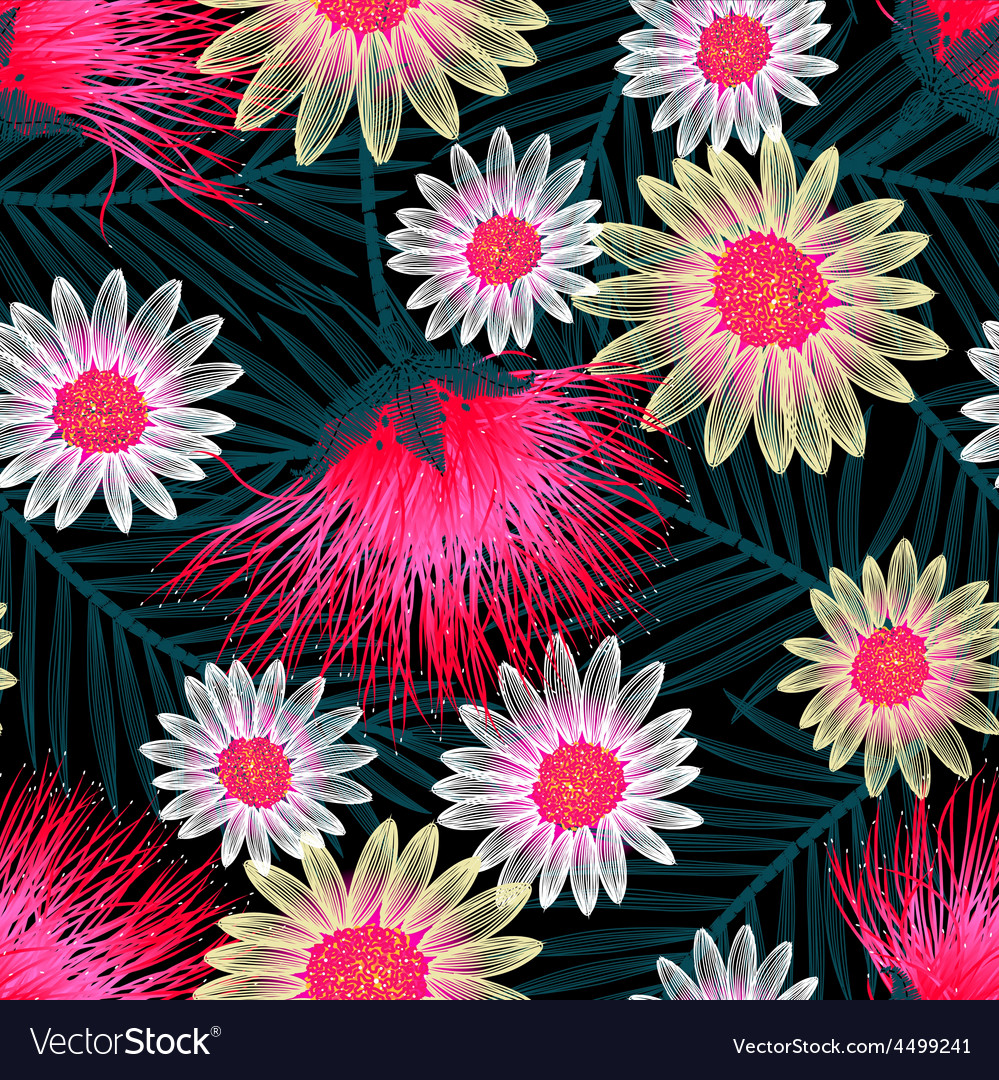 Colorful cottage floral embroidery seamless vector | Price: 1 Credit (USD $1)