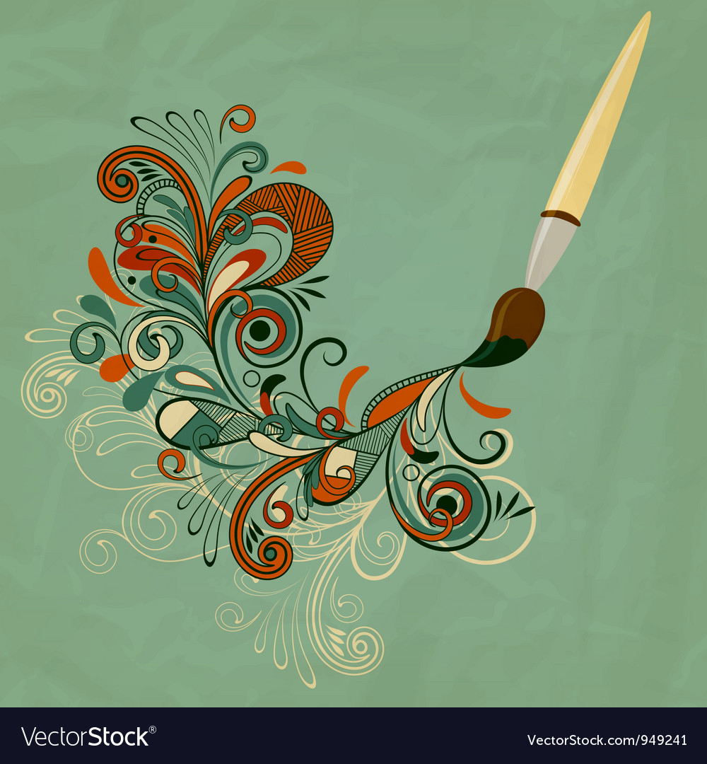 Concept cartoon brush painting branch vector | Price: 1 Credit (USD $1)