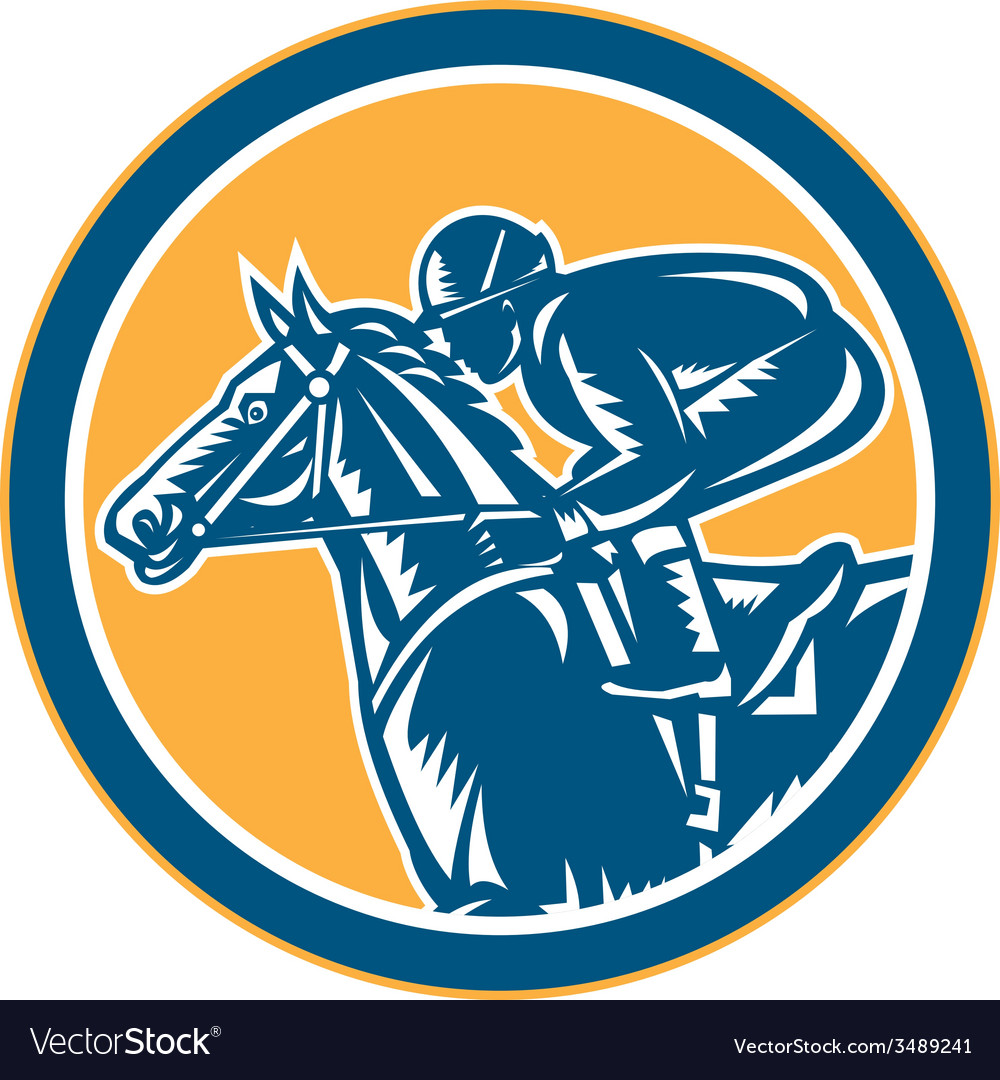 Jockey horse racing side circle retro vector | Price: 3 Credit (USD $3)