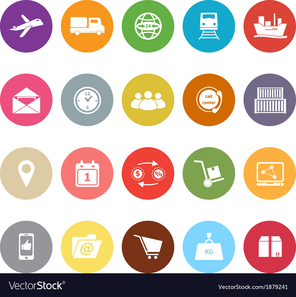 Logistic flat icons on white background vector | Price: 1 Credit (USD $1)