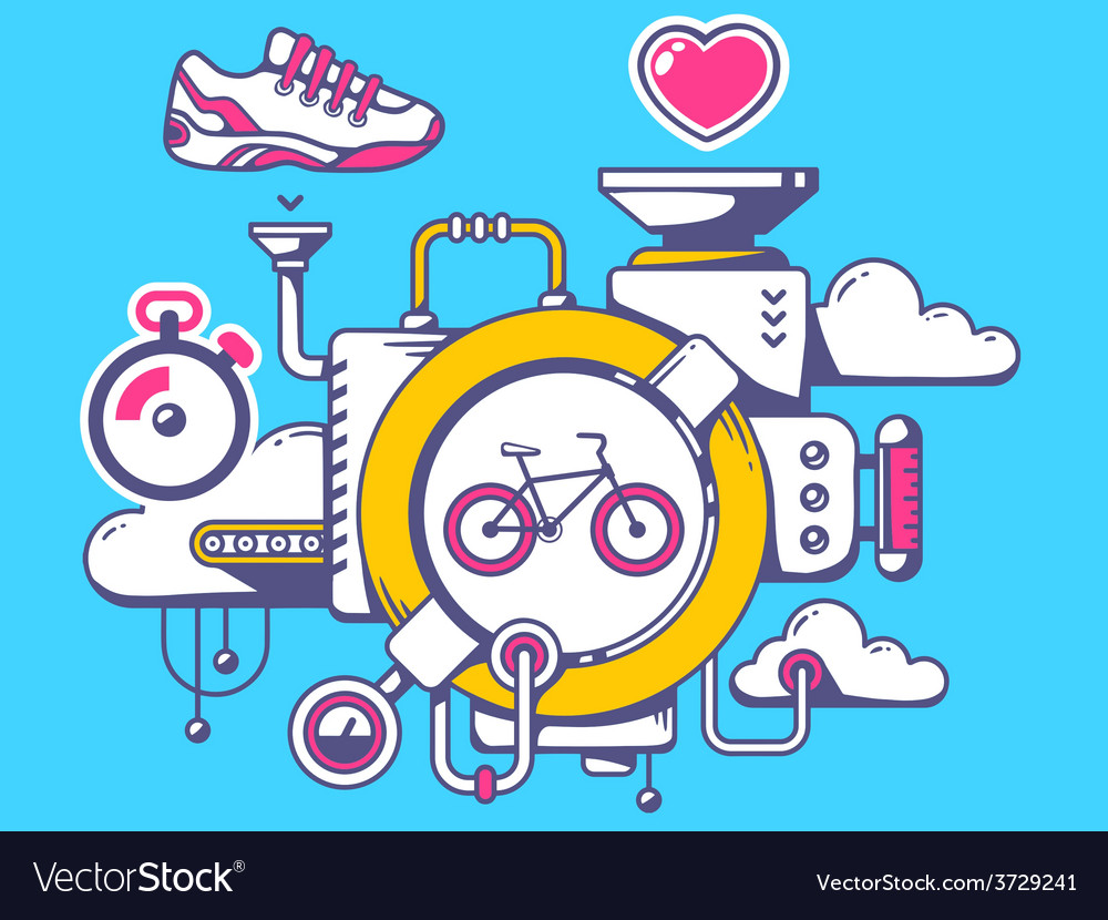Mechanism with bike and sport icons on bl vector | Price: 1 Credit (USD $1)