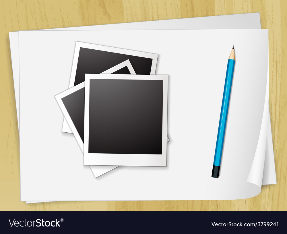 Photo and papers vector | Price: 1 Credit (USD $1)