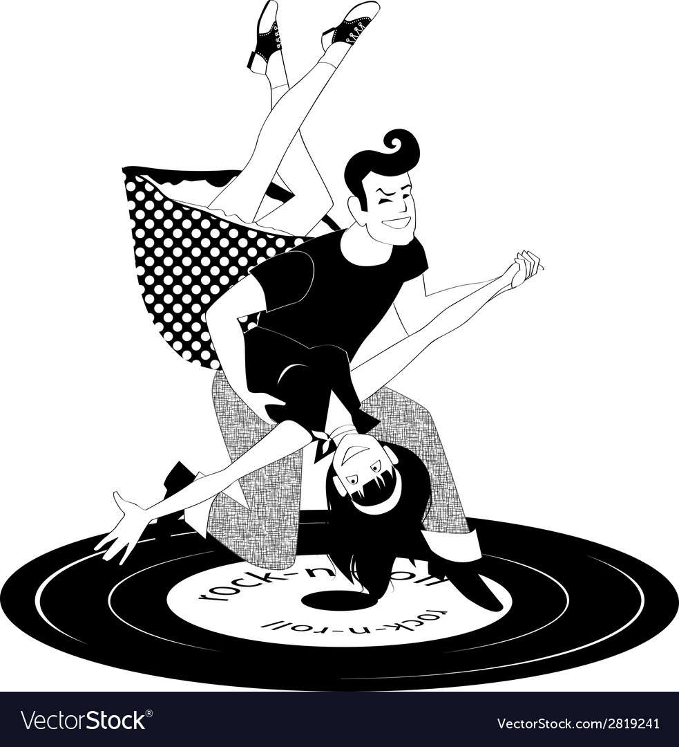 Rock and roll dancing in black and white vector | Price: 1 Credit (USD $1)