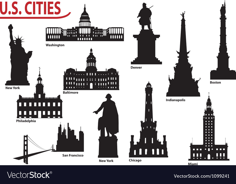 Us cities vector | Price: 1 Credit (USD $1)