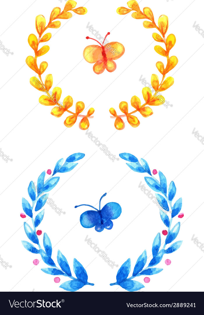 Watercolor floral frames vector | Price: 1 Credit (USD $1)