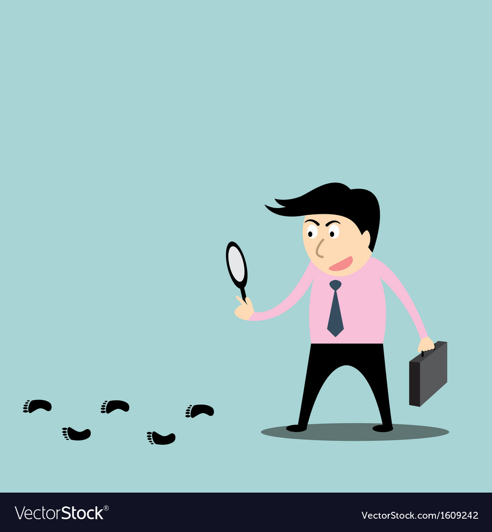 A detective following footprints vector | Price: 1 Credit (USD $1)
