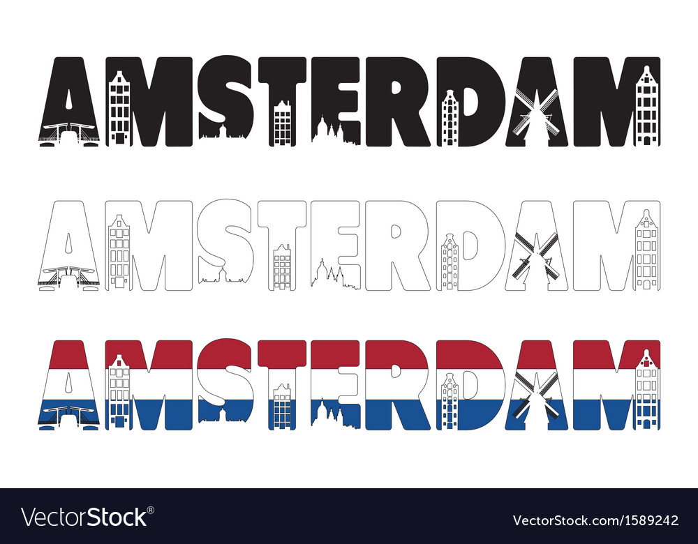 Amsterdam word with skyline including within vector | Price: 1 Credit (USD $1)