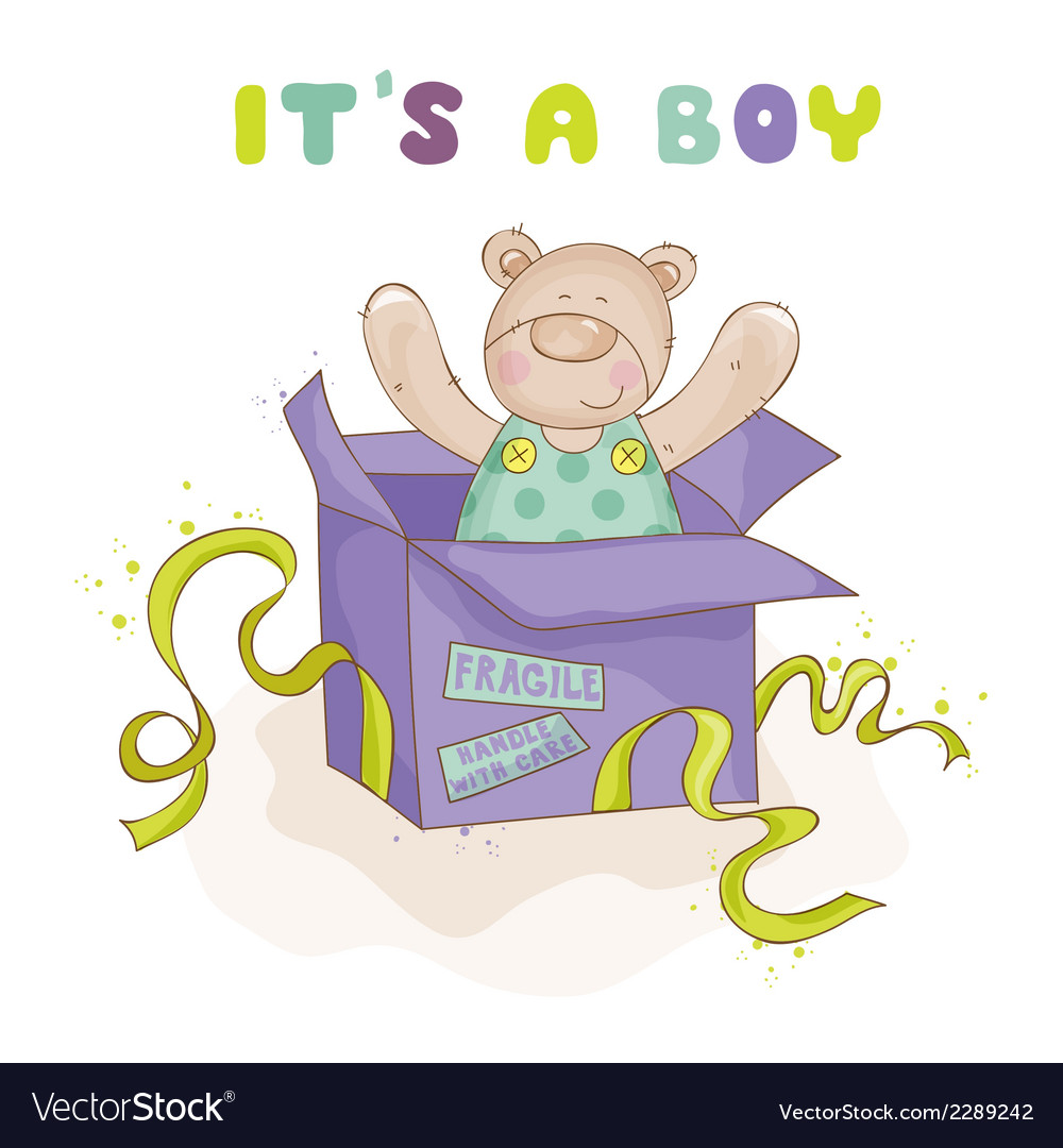 Baby bear in a box - baby shower or arrival card vector | Price: 1 Credit (USD $1)