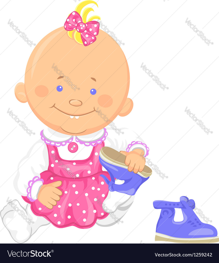 Baby girl learns to put on ones shoes vector | Price: 3 Credit (USD $3)