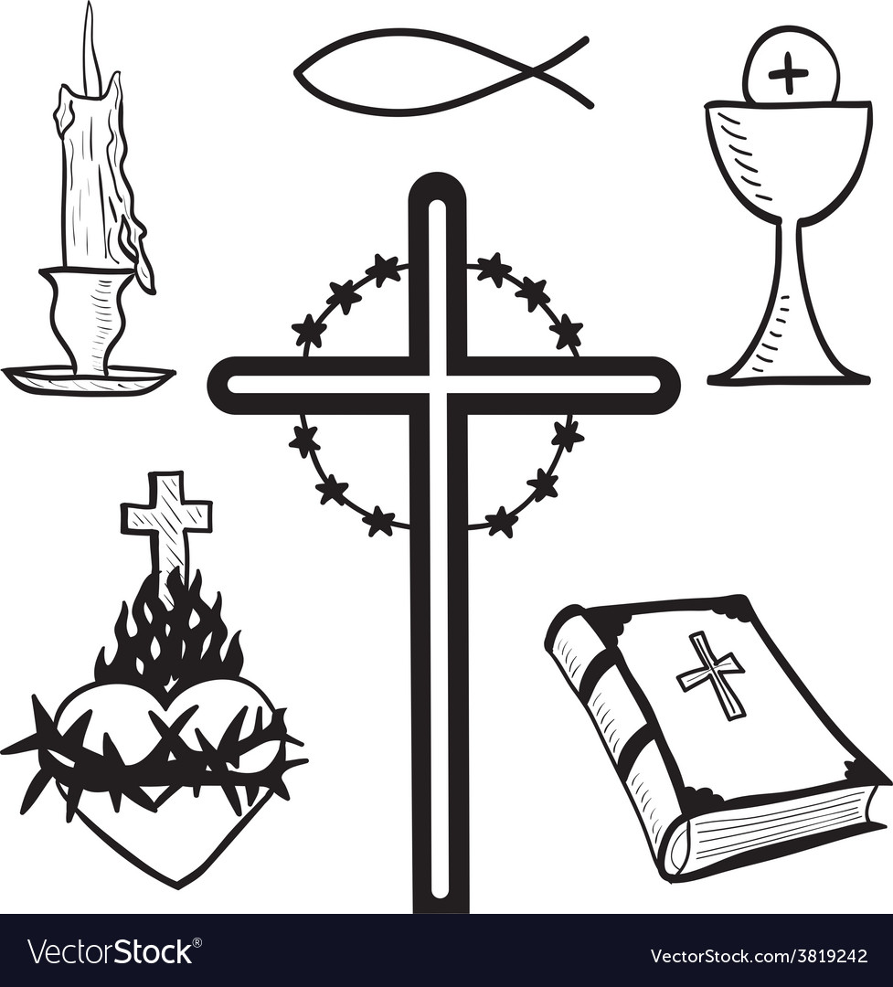 Christian hand-drawn symbols vector | Price: 1 Credit (USD $1)