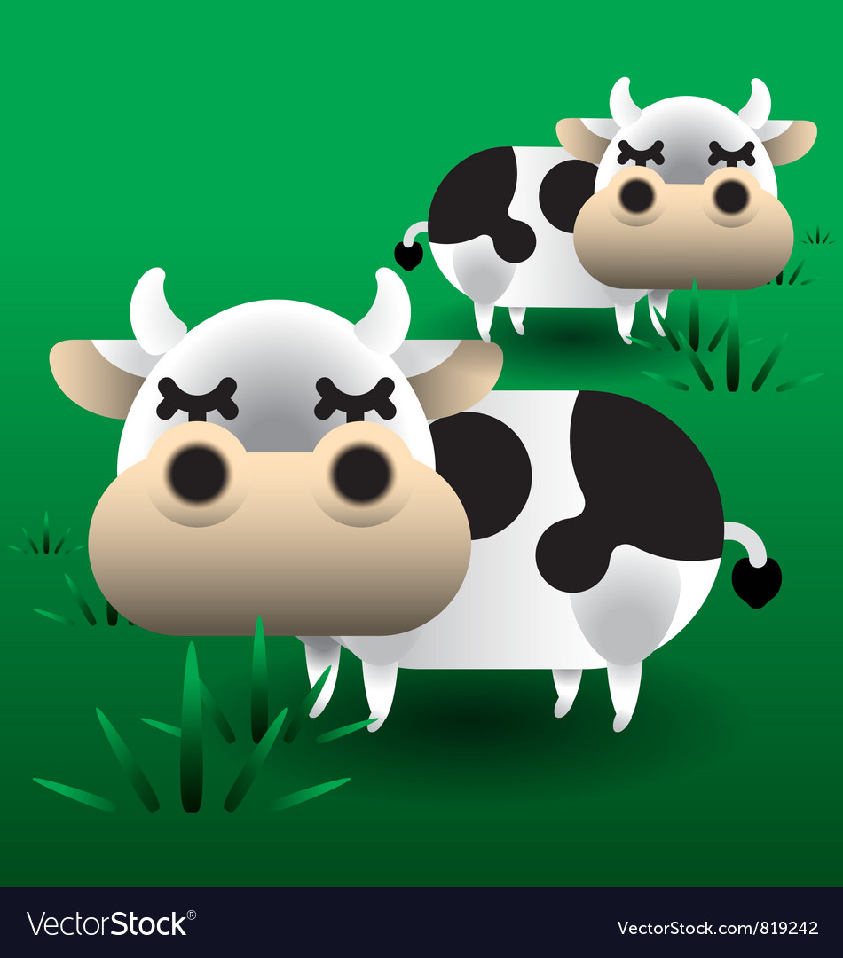 Cows on grass vector | Price: 3 Credit (USD $3)