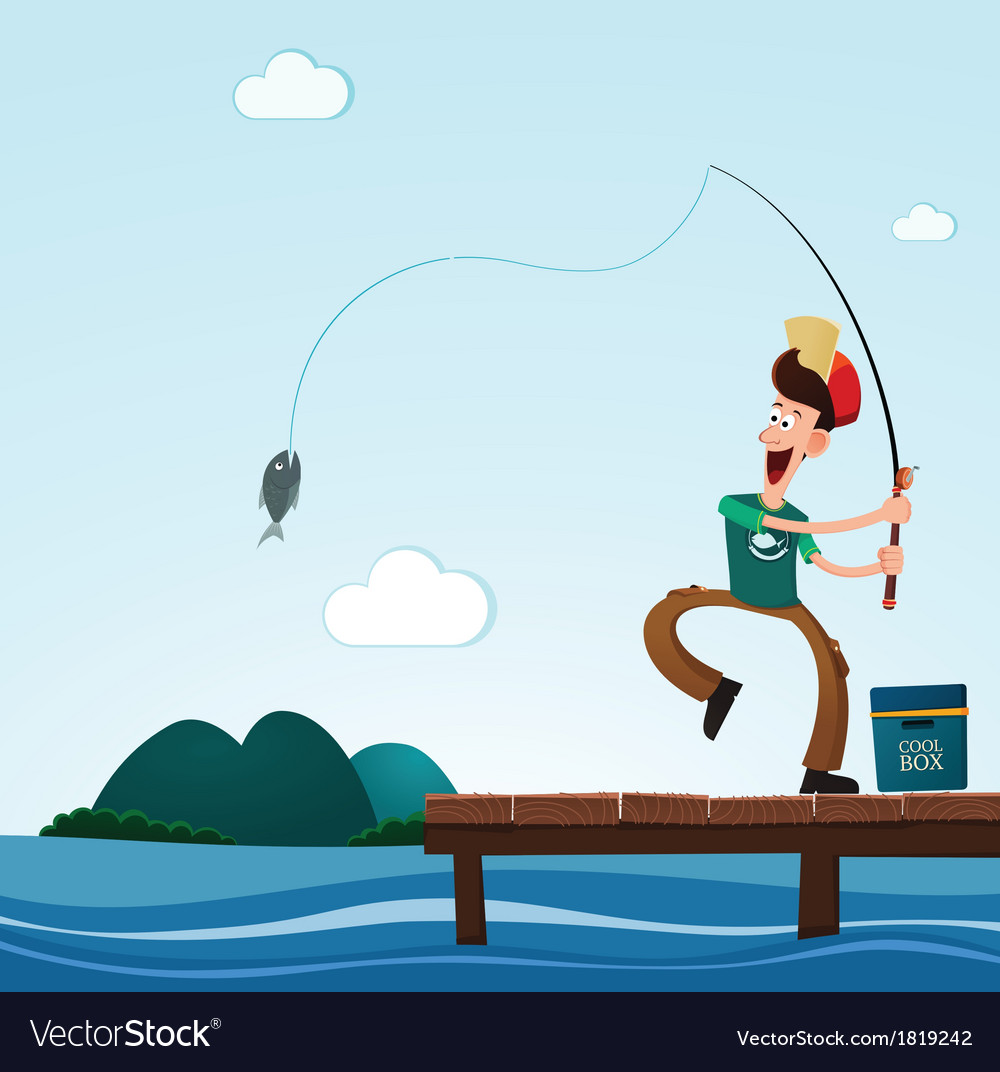 Fishing in the sea vector | Price: 3 Credit (USD $3)