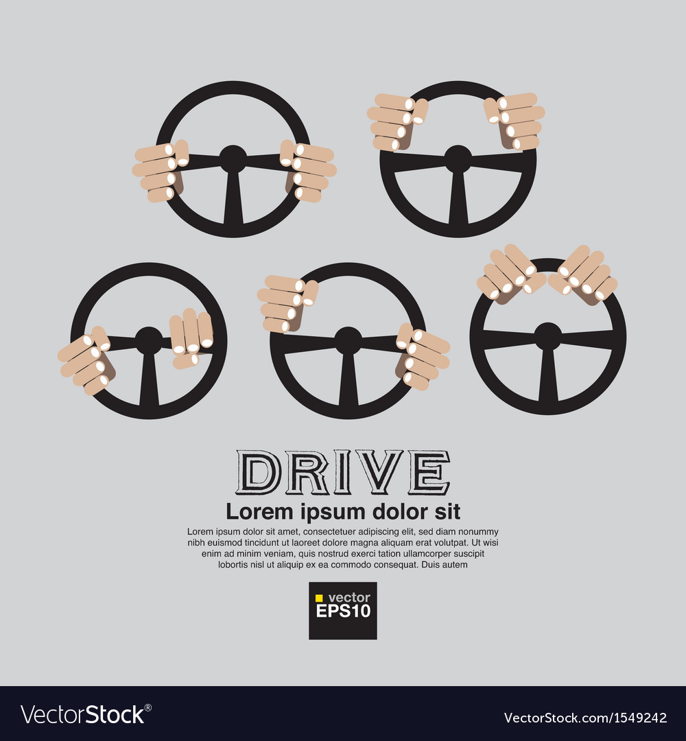 Hand with steering wheel clean graphic symbol vector | Price: 1 Credit (USD $1)
