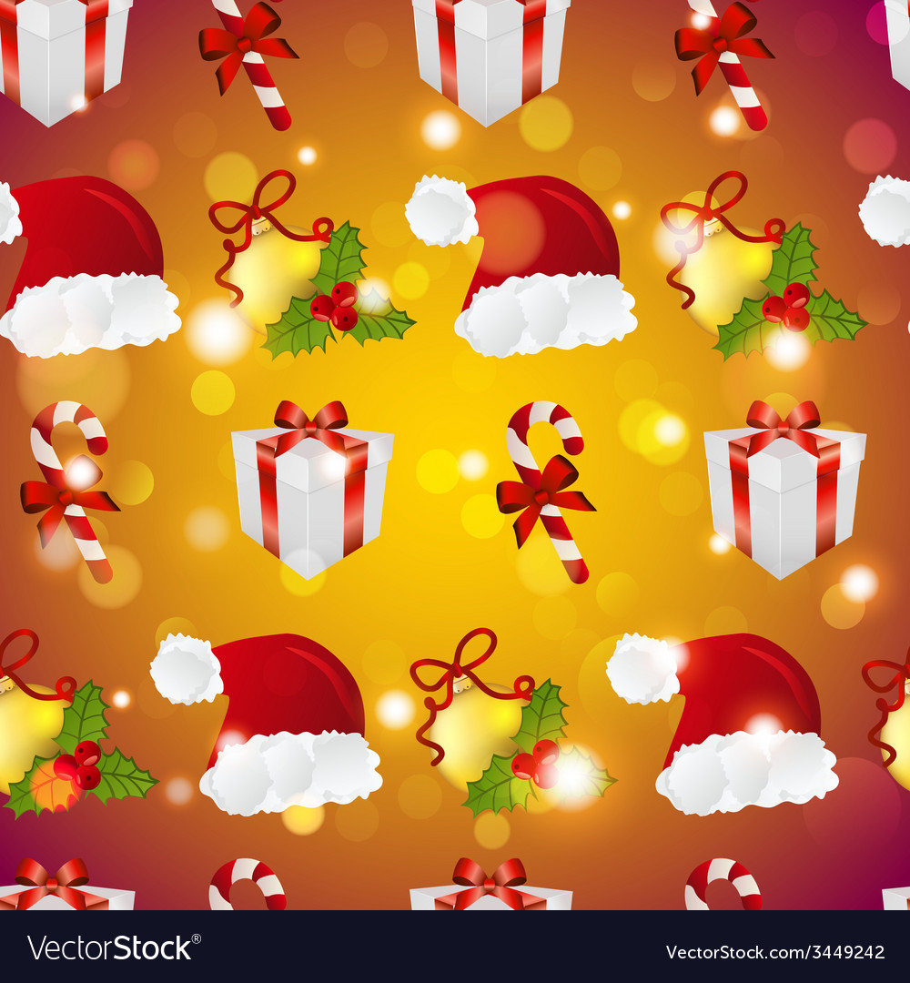 New year pattern with santa hat gift christmas vector | Price: 1 Credit (USD $1)