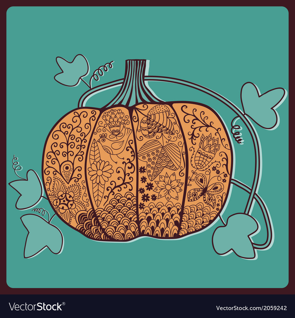 Ornated pumpkin stylized halloween card vector | Price: 1 Credit (USD $1)