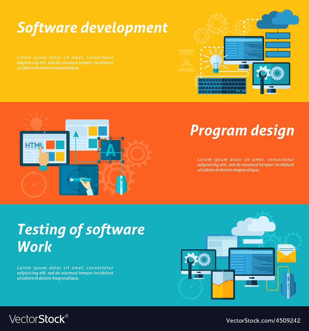 Program development banner set vector | Price: 1 Credit (USD $1)