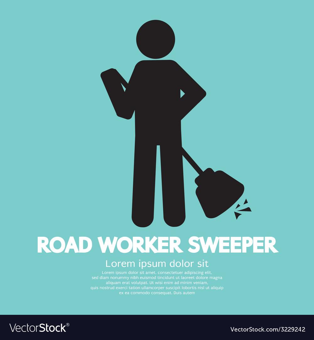 Road worker sweeper vector | Price: 1 Credit (USD $1)