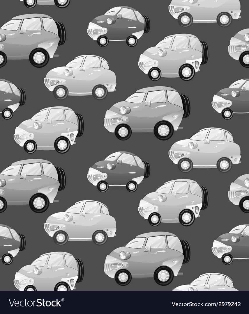 Texture with cute monochrome cartoon car with the vector | Price: 1 Credit (USD $1)