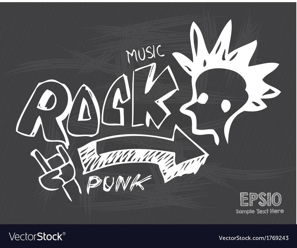 Blackboard love rock music vector | Price: 1 Credit (USD $1)