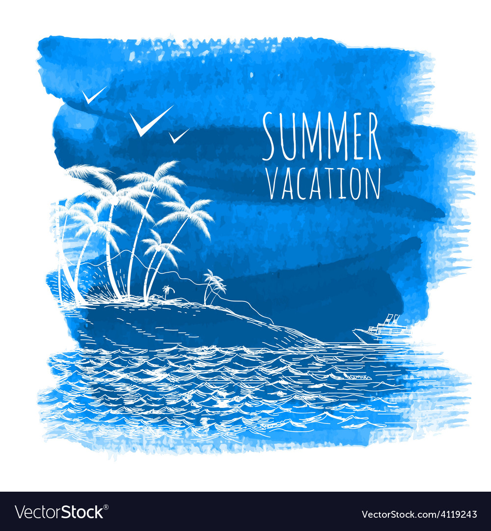 Blue summer watercolor background vector | Price: 1 Credit (USD $1)
