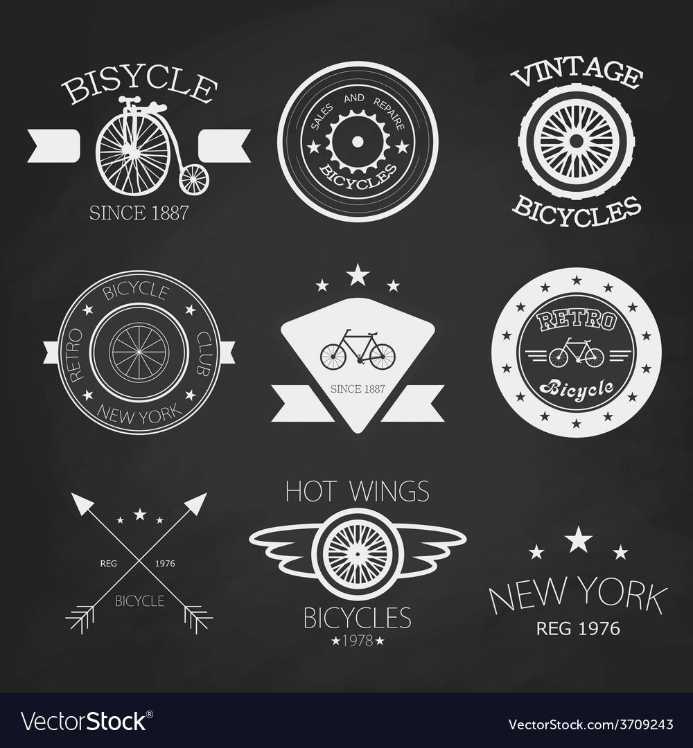Chalk set of old bikes shop logo set vector | Price: 1 Credit (USD $1)