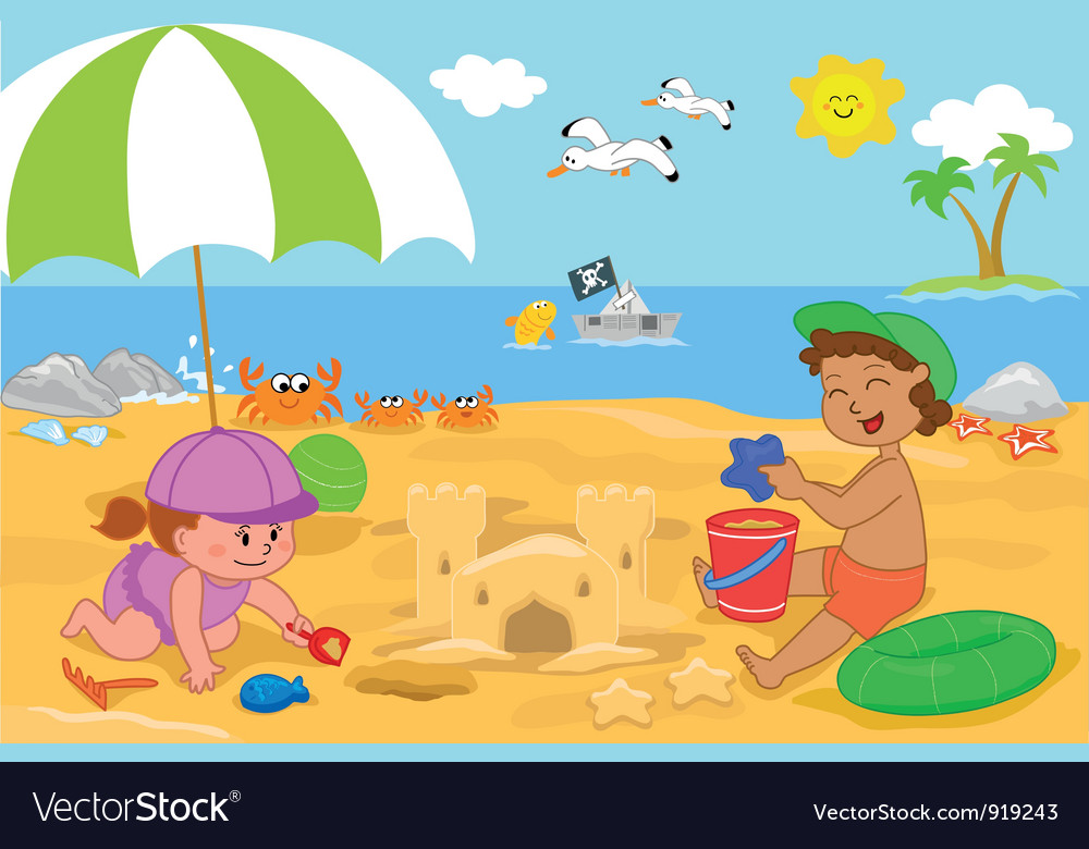 Children playing at the beach vector | Price: 3 Credit (USD $3)