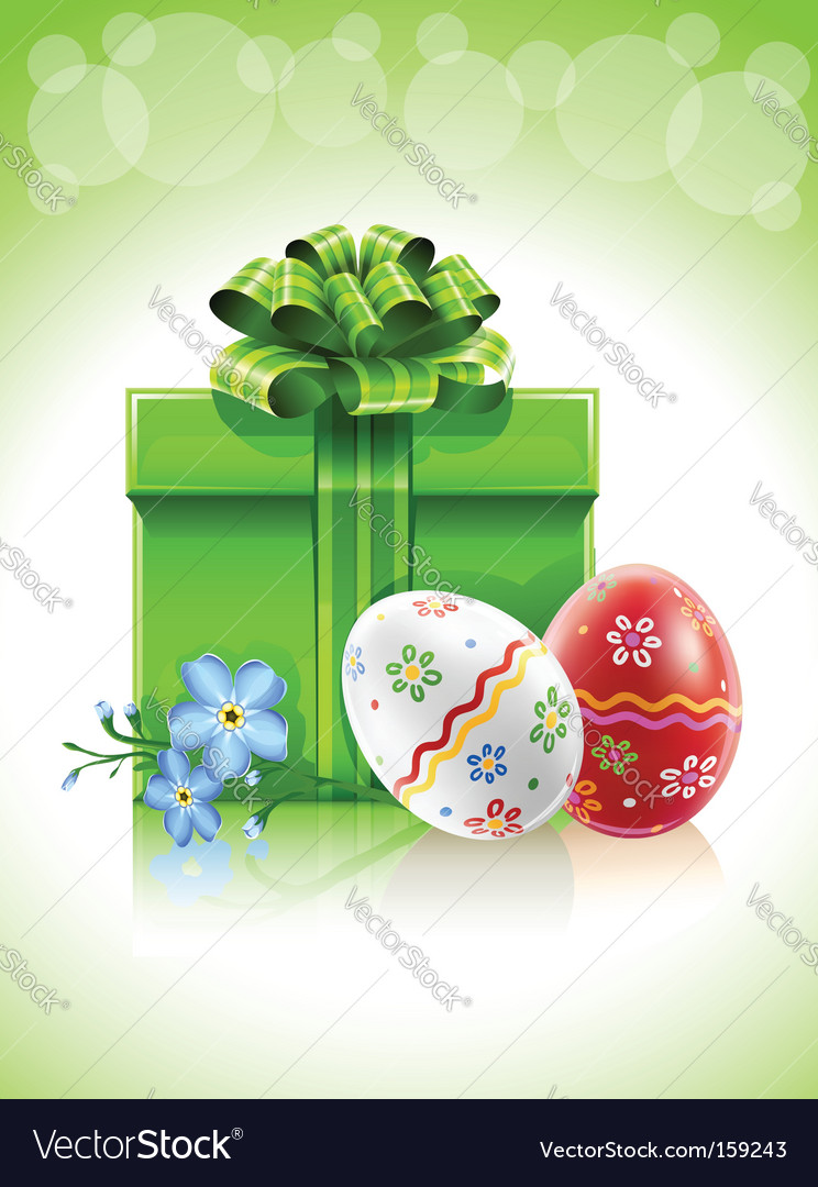 Easter gift with bow flower vector | Price: 1 Credit (USD $1)