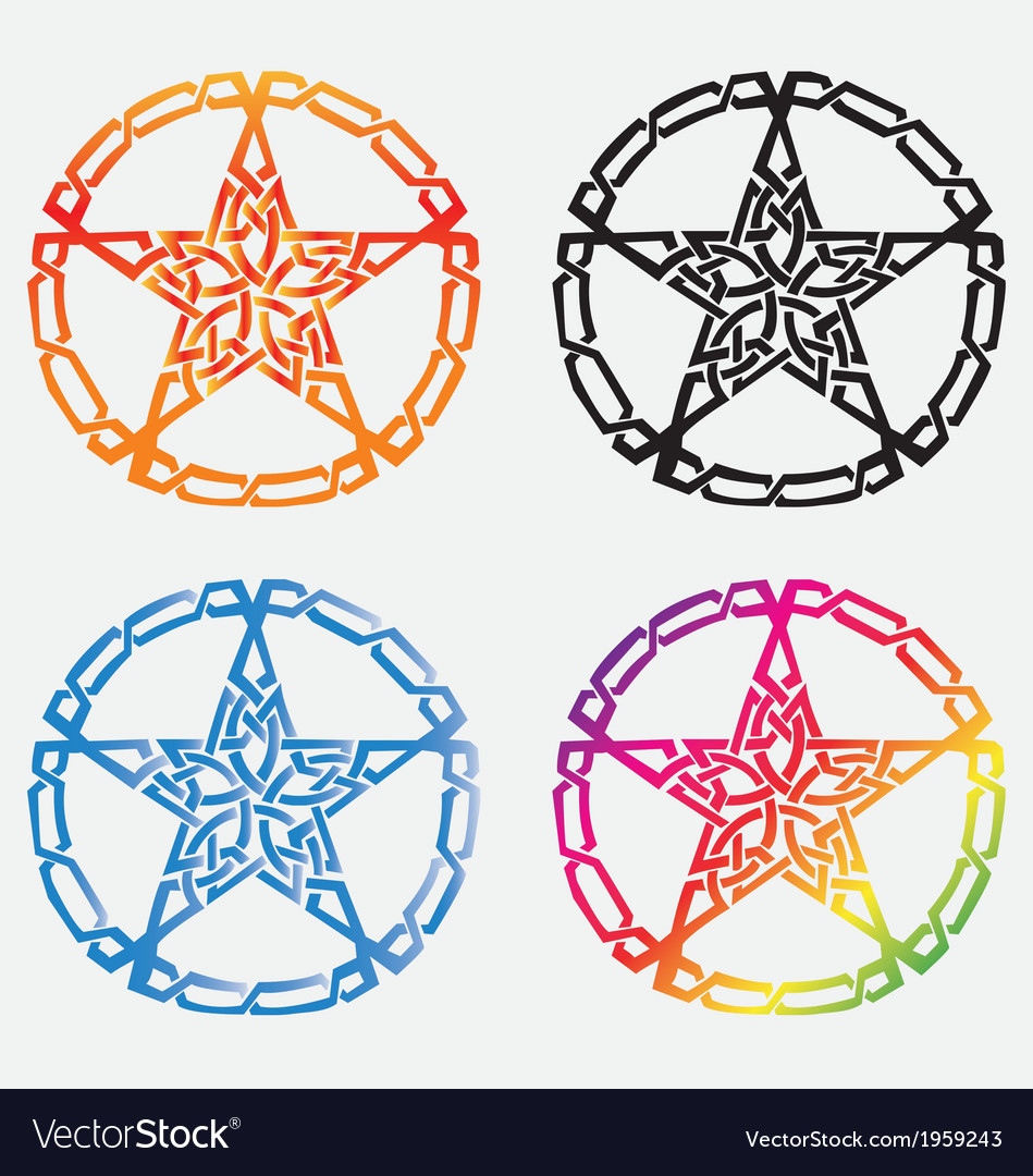 Four stars tattoos tribal with ribbon on white ba vector | Price: 1 Credit (USD $1)