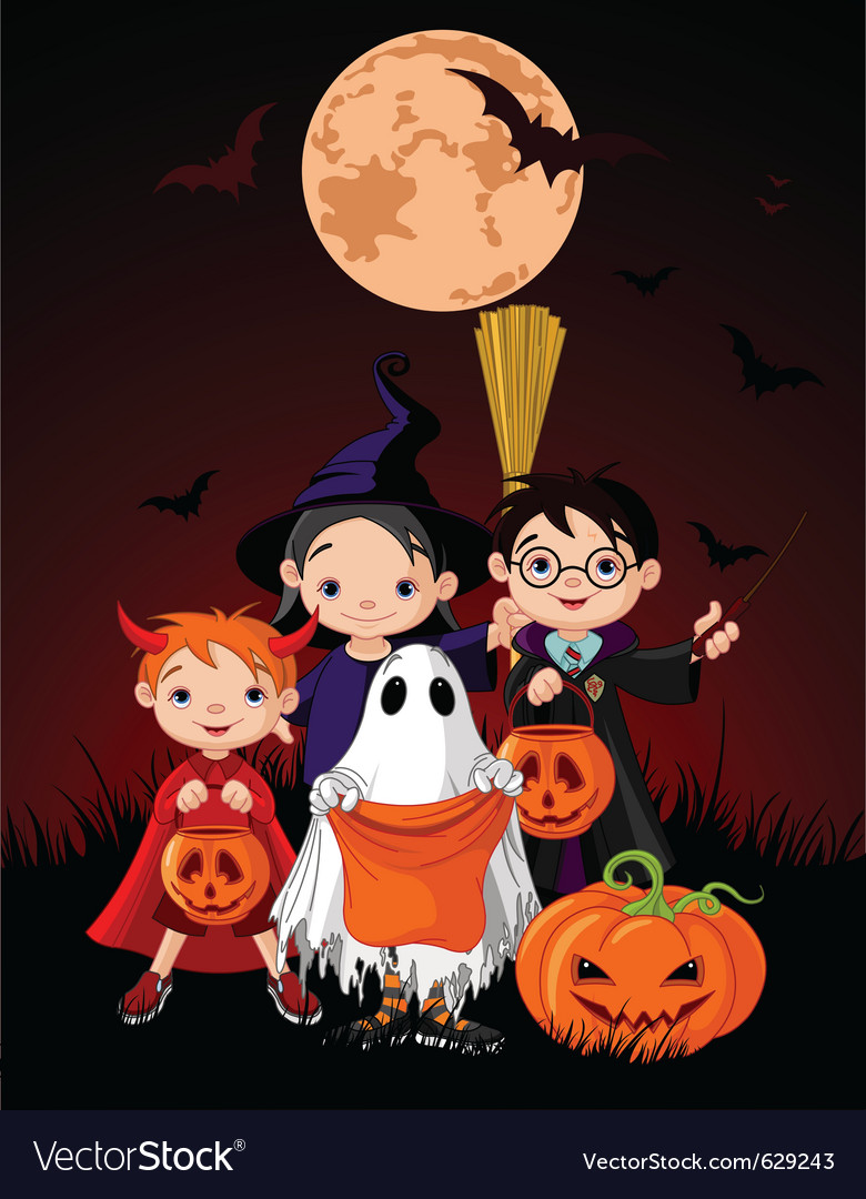Halloween background with children vector | Price: 5 Credit (USD $5)